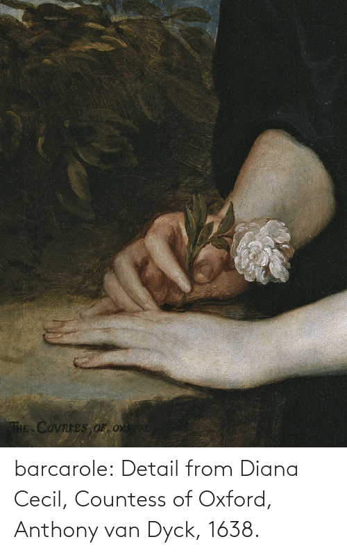 Anthony: THE COvnreS OF Ox barcarole: Detail from Diana Cecil, Countess of Oxford, Anthony van Dyck, 1638.