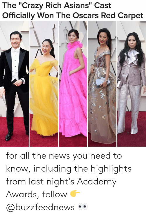 """Academy Awards: The """"Crazy Rich Asians"""" Cast  Officially Won The Oscars Red Carpet for all the news you need to know, including the highlights from last night's Academy Awards, follow 👉@buzzfeednews 👀"""