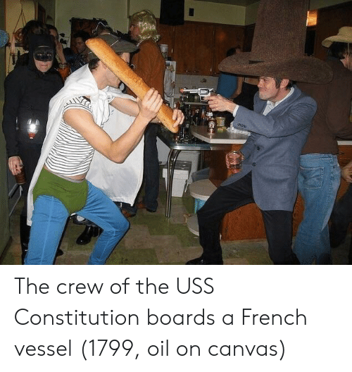 uss: The crew of the USS Constitution boards a French vessel (1799, oil on canvas)