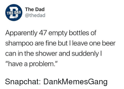 """One Beer: The Dad  @thedad  THE DAD  Apparently 47 empty bottles of  shampoo are fine but I leave one beer  can in the shower and suddenly l  """"have a problem."""" Snapchat: DankMemesGang"""