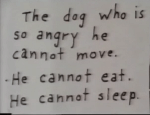 dag: The dag who is  so anqry he  cannot move.  .He cannot eat.  He cannot sleep