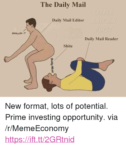 """Daily Mail, Mail, and Opportunity: The Daily Mail  Daily Mail Editor  SWALLOW IT  Daily Mail Reader  Shite <p>New format, lots of potential. Prime investing opportunity. via /r/MemeEconomy <a href=""""https://ift.tt/2GRtnid"""">https://ift.tt/2GRtnid</a></p>"""