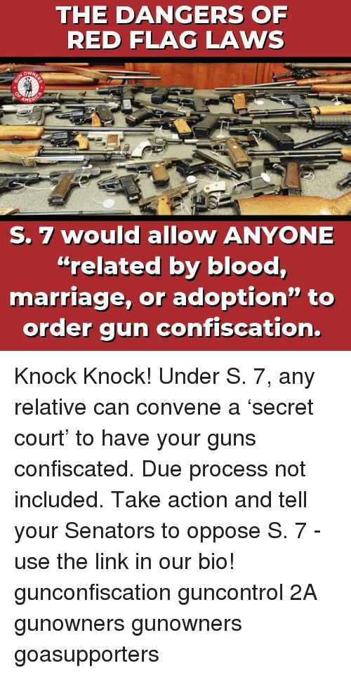 "senators: THE DANGERS OF  RED FLAG LAWS  AMER  S. 7 would allow ANYONE  ""related by blood,  marriage, or adoption"" to  order gun confiscation. Knock Knock! Under S. 7, any relative can convene a 'secret court' to have your guns confiscated. Due process not included. Take action and tell your Senators to oppose S. 7 - use the link in our bio! gunconfiscation guncontrol 2A gunowners gunowners goasupporters"