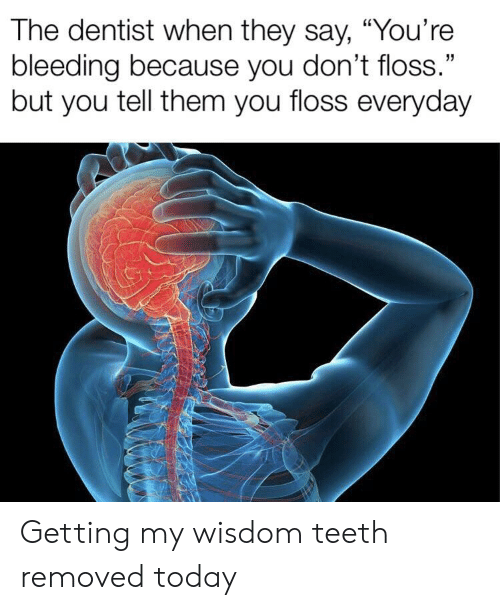 "Reddit, Today, and Wisdom: The dentist when they say, ""You're  bleeding because you don't floss.""  but you tell them you floss everyday Getting my wisdom teeth removed today"