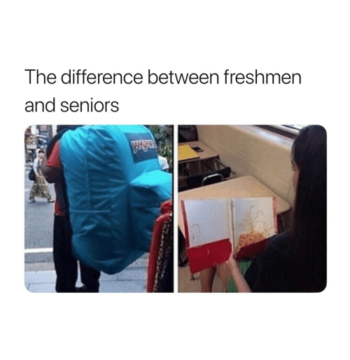 freshmen: The difference between freshmen  and seniors