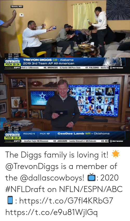 Dallascowboys: The Diggs family is loving it! 🌟  @TrevonDiggs is a member of the @dallascowboys!  📺: 2020 #NFLDraft on NFLN/ESPN/ABC 📱: https://t.co/G7fI4KRbG7 https://t.co/e9u81WjlGq