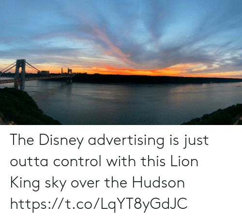 Disney, Memes, and Control: The Disney advertising is just outta control with this Lion King sky over the Hudson https://t.co/LqYT8yGdJC