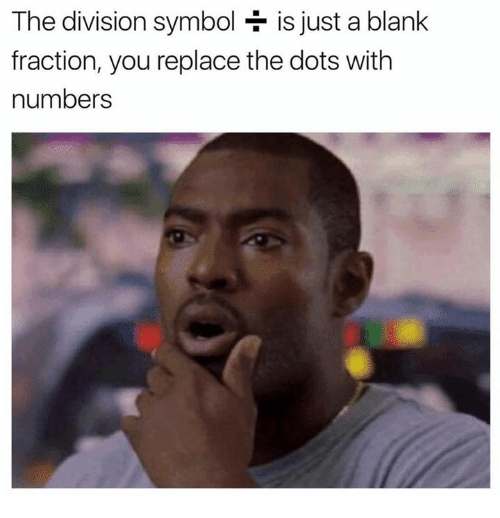 The Division, Humans of Tumblr, and Blank: The division symbol is just a blank  fraction, you replace the dots with  numbers