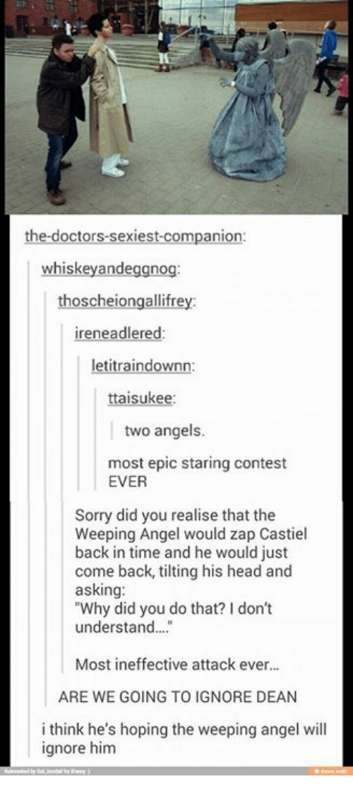 """Tilting: the doctors sexiest companion:  whiskey andeggnog  scheiongallifr  ireneadlered:  letitraindownn:  suke  two angels  most epic staring contest  EVER  Sorry did you realise that the  Weeping Angel would zap Castiel  back in time and he would just  come back, tilting his head and  asking:  """"Why did you do that? don't  understand...  Most ineffective attack ever...  ARE WE GOING TO IGNORE DEAN  i think he's hoping the weeping angel will  ignore him"""