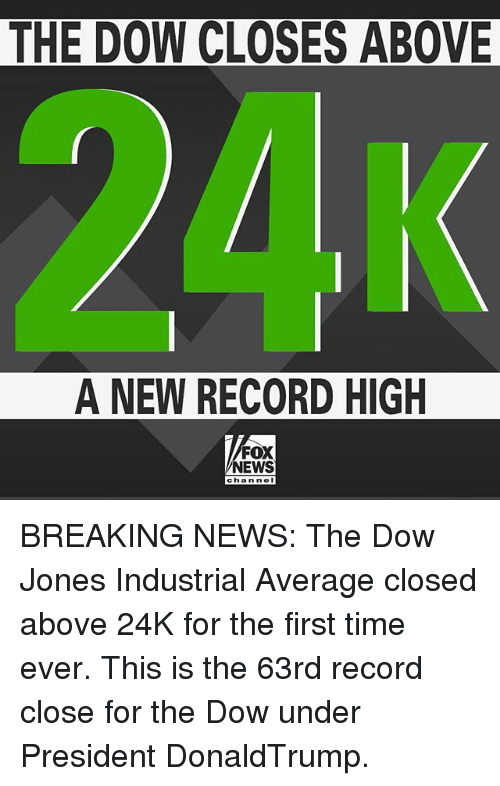 nol: THE DOW CLOSES ABOVE  A NEW RECORD HIGH  FOX  NEWS  chan nol BREAKING NEWS: The Dow Jones Industrial Average closed above 24K for the first time ever. This is the 63rd record close for the Dow under President DonaldTrump.