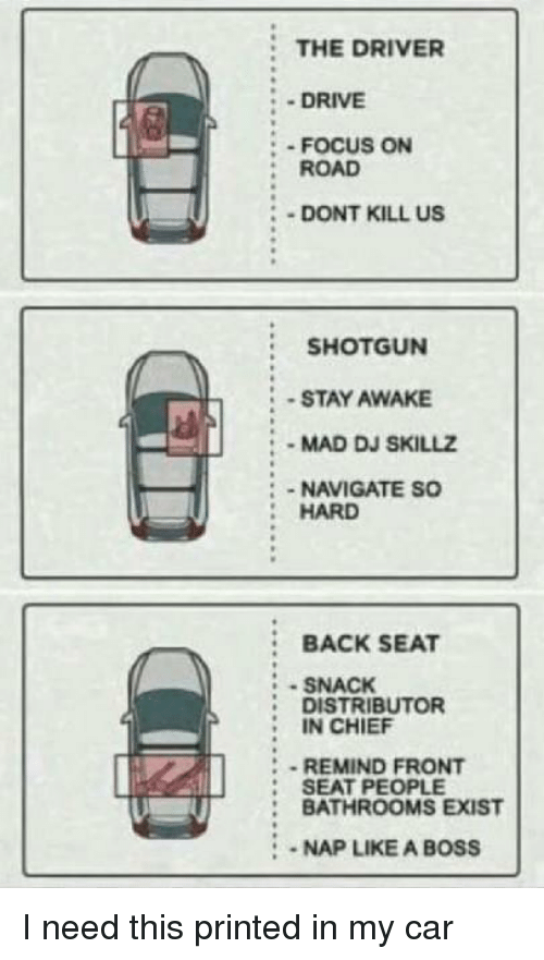 Stay Awake: THE DRIVER  - DRIVE  : - FOCUS ON  :ROAD  DONT KILL US  SHOTGUN  -STAY AWAKE  MAD DJ SKILLZ  :-NAVIGATE SO  HARD  :BACK SEAT  SNACK  DISTRIBUTOR  IN CHIEF  REMIND FRONT  : SEAT PEOPLE  : BATHROOMS EXIST  2  :-NAP LIKE A BOSS I need this printed in my car
