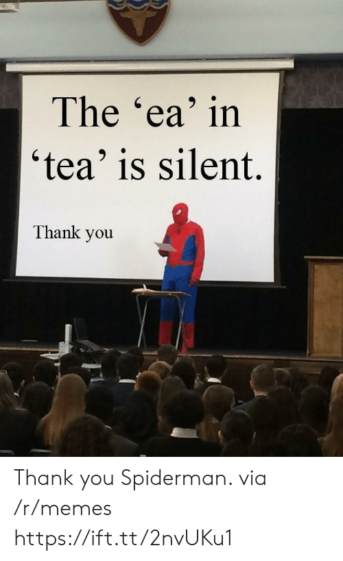 Spiderman: The 'ea' in  'tea' is silent.  Thank you Thank you Spiderman. via /r/memes https://ift.tt/2nvUKu1