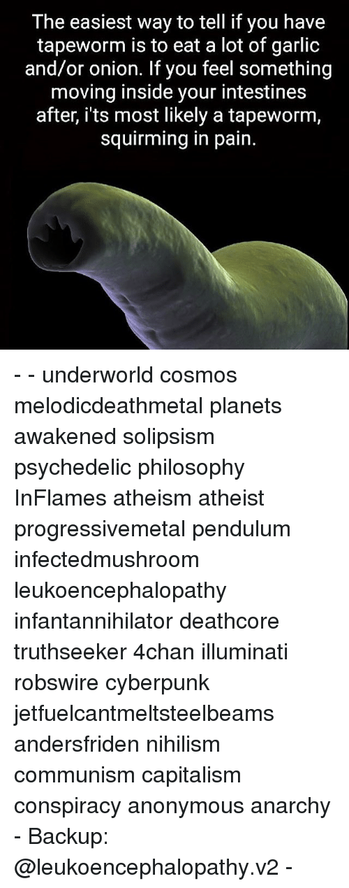 4chan, Illuminati, and Memes: The easiest way to tell if you have  tapeworm is to eat a lot of garlic  and/or onion. If you feel something  moving inside your intestines  after, its most likely a tapeworm,  squirming in pain. - - underworld cosmos melodicdeathmetal planets awakened solipsism psychedelic philosophy InFlames atheism atheist progressivemetal pendulum infectedmushroom leukoencephalopathy infantannihilator deathcore truthseeker 4chan illuminati robswire cyberpunk jetfuelcantmeltsteelbeams andersfriden nihilism communism capitalism conspiracy anonymous anarchy - Backup: @leukoencephalopathy.v2 -