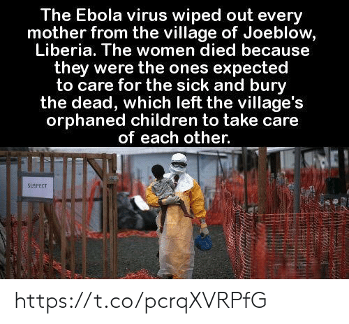 Children, Memes, and Ebola: The Ebola virus wiped out every  mother from the village of Joeblow,  Liberia. The women died because  they were the ones expected  to care for the sick and bury  the dead, which left the village's  orphaned children to take care  of each other.  SUSPECT https://t.co/pcrqXVRPfG