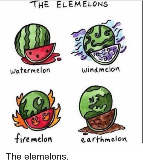 Memes, 🤖, and Watermelon: THE ELE MELONS  watermelon  wind melon.  fire melon  earth melon. The elemelons.