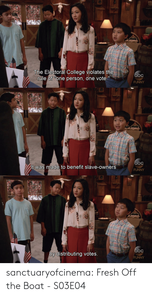 "Abc, College, and Fresh: The Electoral College violates the  rule of ""one person, one vote.""  abc  FUNNY   abc  It was made to benefit slave-owners  FUNNY   Gbc  by distributing votes  FUNNY sanctuaryofcinema:  Fresh Off the Boat - S03E04"