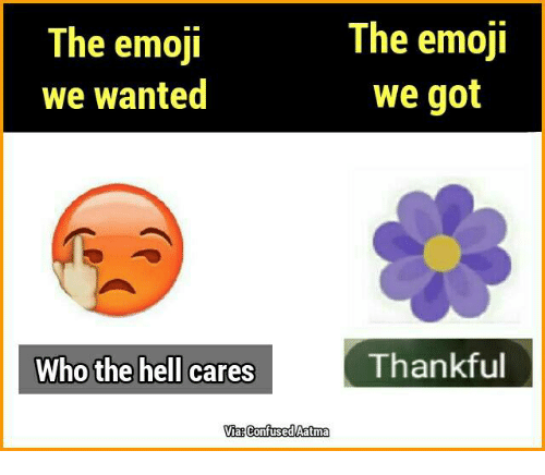 The Emojis: The emoji  The emoji  we wanted  we got  Thankful  Who the hell cares  Via Confused Aatma
