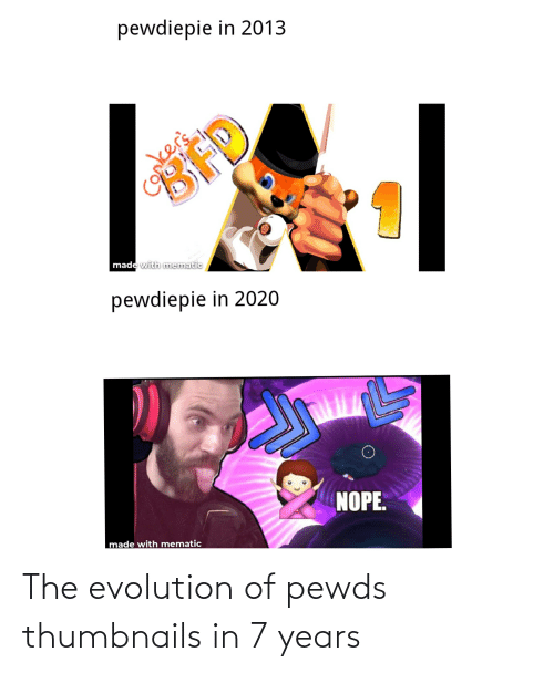 Evolution: The evolution of pewds thumbnails in 7 years