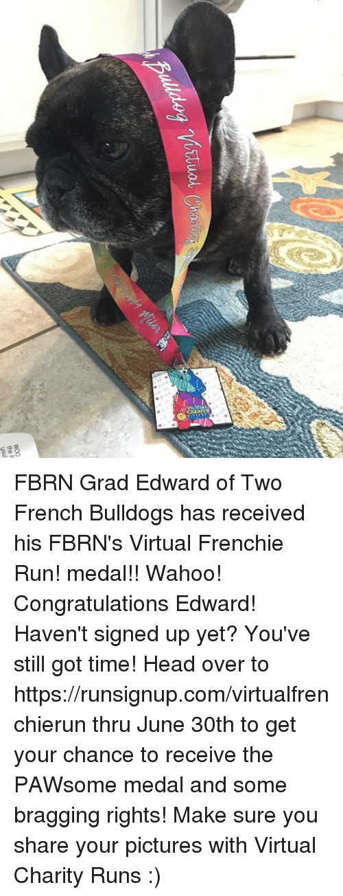 virtualization: the F  you FBRN Grad Edward of Two French Bulldogs has received his  FBRN's Virtual Frenchie Run! medal!! Wahoo! Congratulations Edward!  Haven't signed up yet? You've still got time! Head over to  https://runsignup.com/virtualfrenchierun thru June 30th to get your chance to receive the PAWsome medal and some bragging rights!  Make sure you share your pictures with Virtual Charity Runs :)