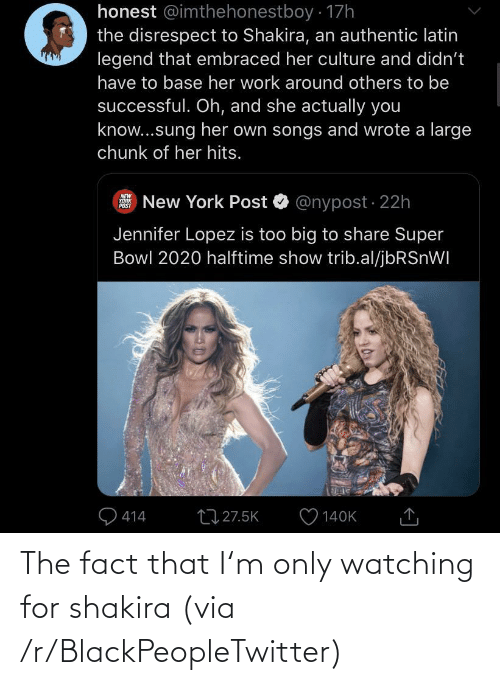 Shakira: The fact that I'm only watching for shakira (via /r/BlackPeopleTwitter)