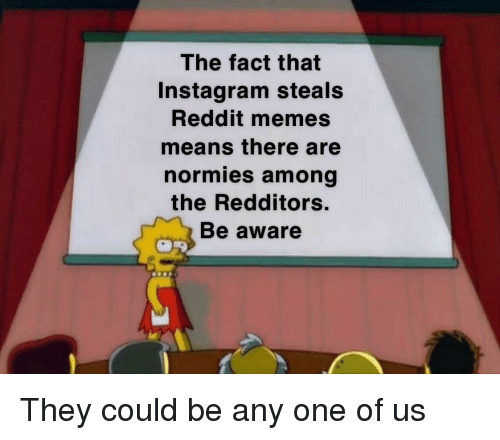 Reddit Memes: The fact that  Instagram steals  Reddit memes  means there are  normies among  the Redditors.  Be aware They could be any one of us