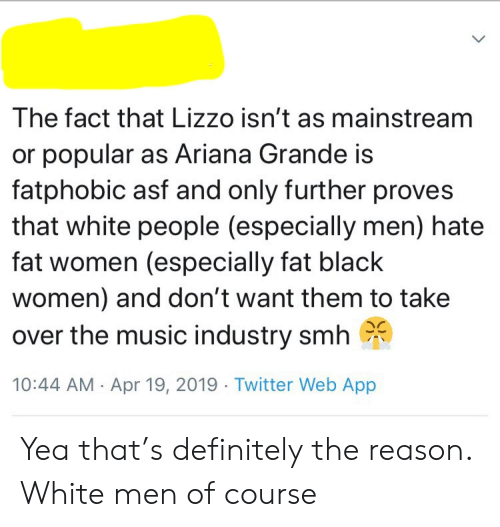 Ariana Grande, Definitely, and Music: The fact that Lizzo isn't as mainstream  or popular as Ariana Grande is  fatphobic asf and only further proves  that white people (especially men) hate  fat women (especially fat black  women) and don't want them to take  over the music industry smh  10:44 AM Apr 19, 2019 Twitter Web App Yea that's definitely the reason. White men of course
