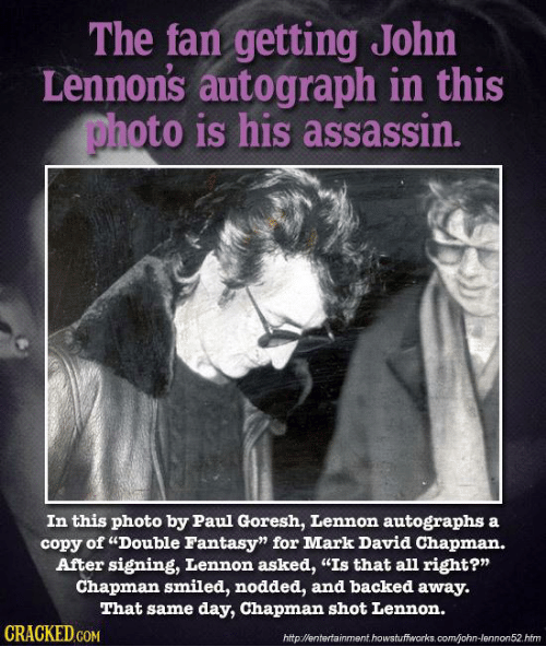 """assasination of john lennon essay The man who murdered john lennon has told a parole board that he """"has a sociopathic mind"""" and killed the beatle because he wanted to be famous, in his ninth attempt to be released on bail."""