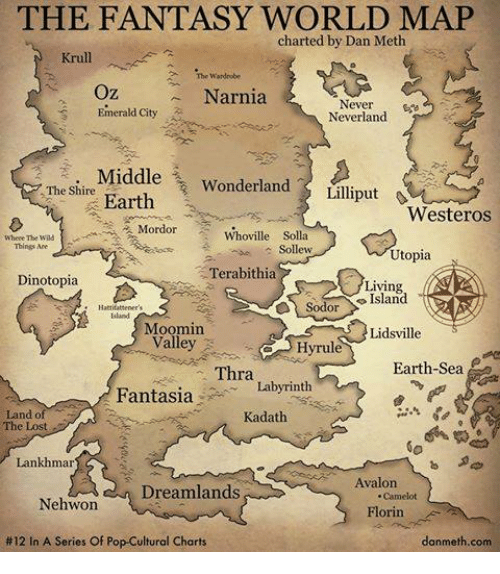 moomins: THE FANTASY WORLD MAP  charted by Dan Meth  Krull.  Wardrobe  Oz  Narnia  Never  Emerald City  Neverland  i. Middle  Wonderland  The Shire  Lilliput  Earth  Westeros  Mordor Whoville Solla  Where The  Things Are  Sollew  Utopia  Terabithia  Dinotopia  Living  Sodor  Moomin  Lidsville  Valley  Hyrul  Earth Sea  Thra  Fantasia  Labyrinth  Land of  Kadath  Lankhmar  Avalon  Dreamlands  Nehwon  Florin  #12 In A Series Of Pop-Cultural Charts  danmeth.com