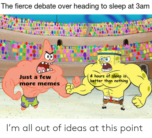 Memes, Sleep, and Debate: The fierce debate over heading to sleep at 3am  4 hours of sleep is  better than nothing  Just a few  more memes I'm all out of ideas at this point