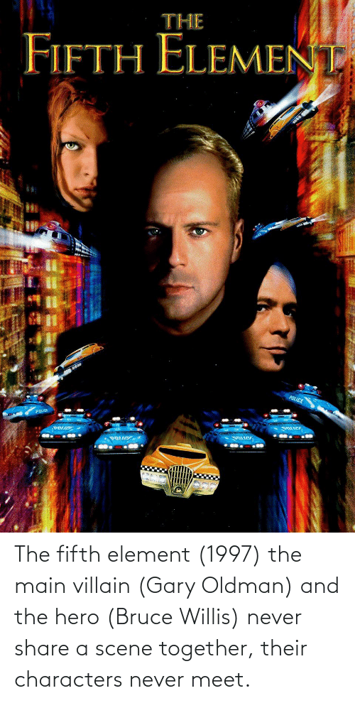 Villain: The fifth element (1997) the main villain (Gary Oldman) and the hero (Bruce Willis) never share a scene together, their characters never meet.