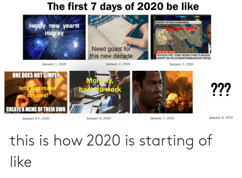 Create A Meme: The first 7 days of 2020 be like  ROCKET ATTACK IN BAGHDAD  Happy new year!!!  Hogroy  Baghdad Internaticna' A  wti?  FA  IRAN  Need goals for  this new decade  BREAKING NEWS  PENTAGON: PRES. TRUMP ORDERED STRIKE AT BAGHDAD  AIRPORT THAT KILLED SENIOR IRANIAN MILITARY OFFICIAL  January 2, 2020  January 1, 2020  January 3, 2020  ONE DOES NOT SIMPLY  Moh y,  back to work  ??  lets just make  memes!  CREATE A MEME OF THEIR OWN  Imgflip.com  january 8, 2020  January 7, 2020  January 6, 2020  January 4-5, 2020 this is how 2020 is starting of like