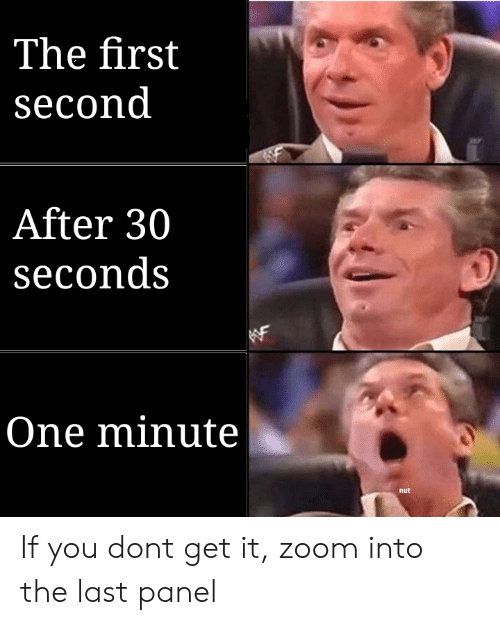Reddit, Zoom, and One: The first  second  After 30  seconds  One minute  nut If you dont get it, zoom into the last panel