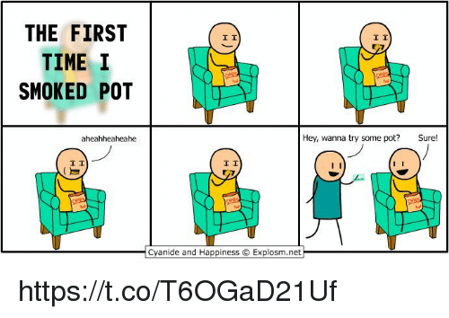 Cyanide and Happiness, Time, and Happiness: THE FIRST  TIME I  SMOKED POT  aheahheaheahe  I I  I I  Hey, wanna try some pot?  Sure  I I  Cyanide and Happiness O Explosm.net https://t.co/T6OGaD21Uf