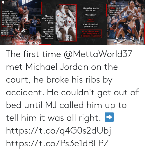 court: The first time @MettaWorld37 met Michael Jordan on the court, he broke his ribs by accident. He couldn't get out of bed until MJ called him up to tell him it was all right.  ➡️ https://t.co/q4G0s2dUbj https://t.co/Ps3e1dBLPZ