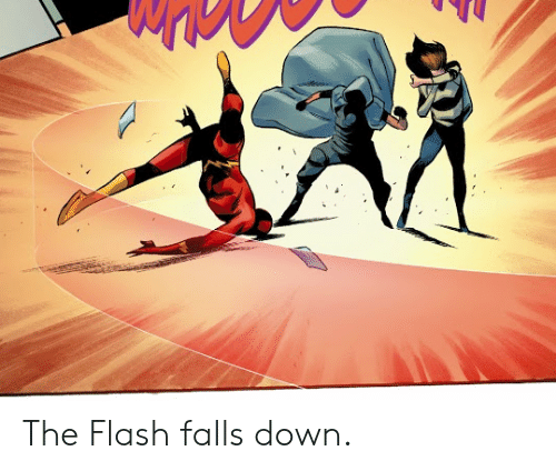 flash: The Flash falls down.