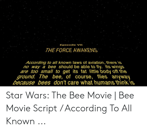 Bee Movie, Star Wars, and Movie: THE FORCE AWAKENS  According to all known laws of aviation, there is  no way a bee should be able to fly. ts wings  are too small to get its fat little body of the  ground. The bee, of course, flies anyway  because bees don't care what humans thinkis Star Wars: The Bee Movie | Bee Movie Script / According To All Known ...
