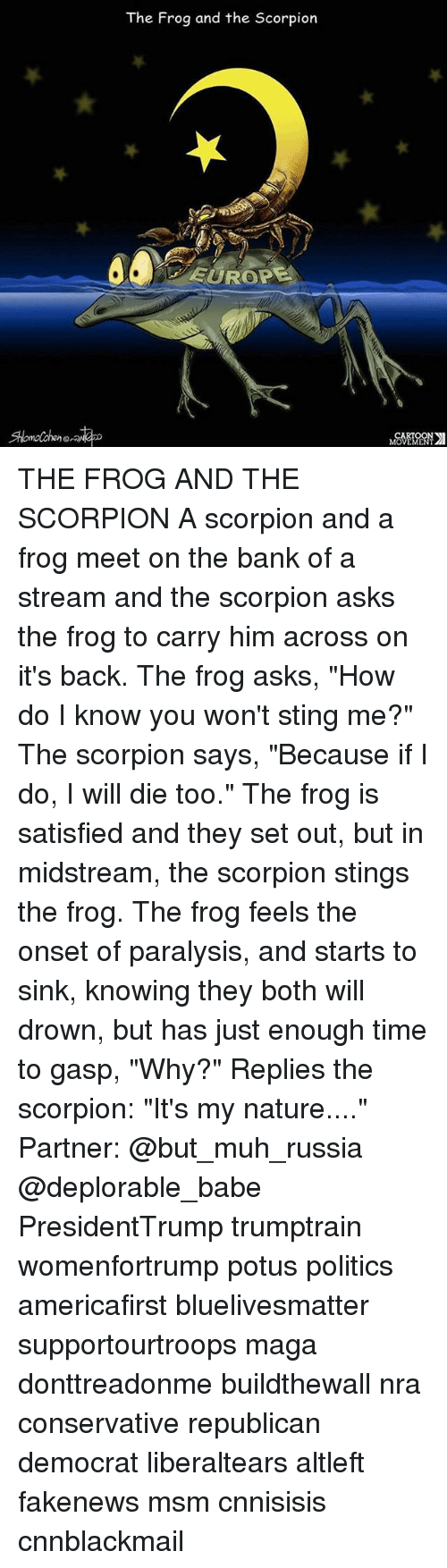 """Cnnblackmail: The Frog and the Scorpion  EUROP  Shlomolchen  CARTOON  MOVEMENT THE FROG AND THE SCORPION A scorpion and a frog meet on the bank of a stream and the scorpion asks the frog to carry him across on it's back. The frog asks, """"How do I know you won't sting me?"""" The scorpion says, """"Because if I do, I will die too."""" The frog is satisfied and they set out, but in midstream, the scorpion stings the frog. The frog feels the onset of paralysis, and starts to sink, knowing they both will drown, but has just enough time to gasp, """"Why?"""" Replies the scorpion: """"It's my nature...."""" Partner: @but_muh_russia @deplorable_babe PresidentTrump trumptrain womenfortrump potus politics americafirst bluelivesmatter supportourtroops maga donttreadonme buildthewall nra conservative republican democrat liberaltears altleft fakenews msm cnnisisis cnnblackmail"""