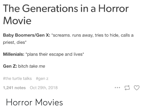 gen x: The Generations in a Horror  Movie  Baby Boomers/Gen X: screams. runs away, tries to hide, calls a  priest, dies*  Millenials: plans their escape and lives  Gen Z: bitch take me  #the turtle talks  #genz  1,241 notes Oct 29th, 2018 Horror Movies