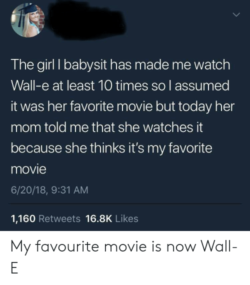 Assumed: The girl I babysit has made me watch  Wall-e at least 10 times so l assumed  it was her favorite movie but today her  mom told me that she watches it  because she thinks it's my favorite  movie  6/20/18, 9:31 AM  1,160 Retweets 16.8K Likes My favourite movie is now Wall-E