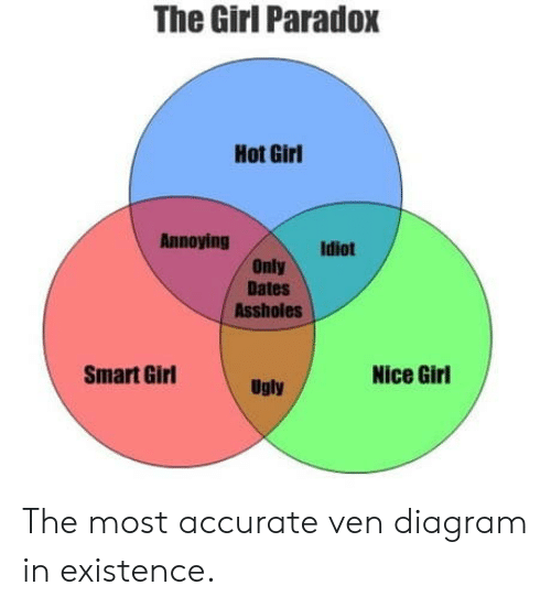 nice girl: The Girl Paradox  Hot Girl  Annoying  Idiot  Only  Dates  Assholes  Smart Girl  Nice Girl  Ugly The most accurate ven diagram in existence.