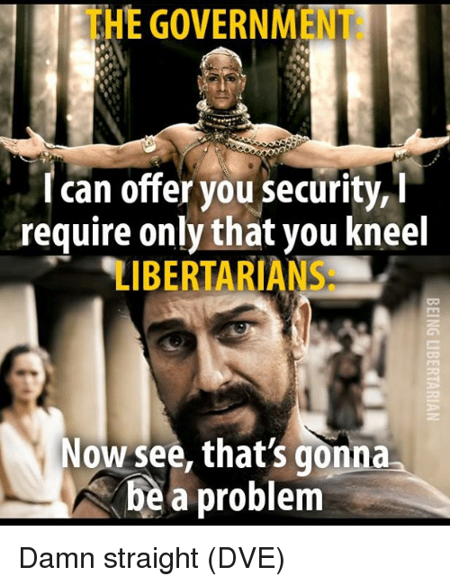Memes, Government, and 🤖: THE GOVERNMENT:  I can offer you security, i  require only that you kneel  LIBERTARIANS:  Now see, that's gonna  be a problem Damn straight (DVE)