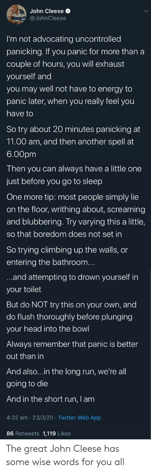 Wise Words: The great John Cleese has some wise words for you all