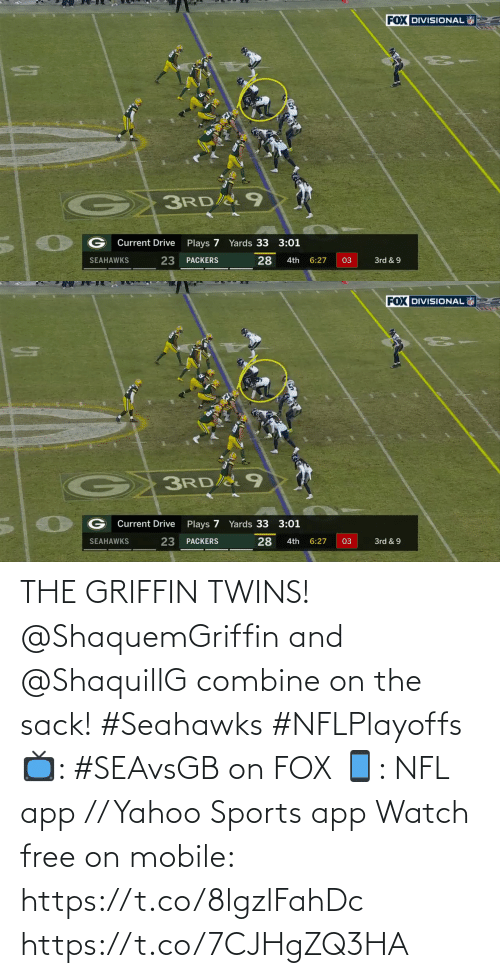 yahoo sports: THE GRIFFIN TWINS!  @ShaquemGriffin and @ShaquillG combine on the sack! #Seahawks #NFLPlayoffs  📺: #SEAvsGB on FOX 📱: NFL app // Yahoo Sports app Watch free on mobile: https://t.co/8lgzlFahDc https://t.co/7CJHgZQ3HA