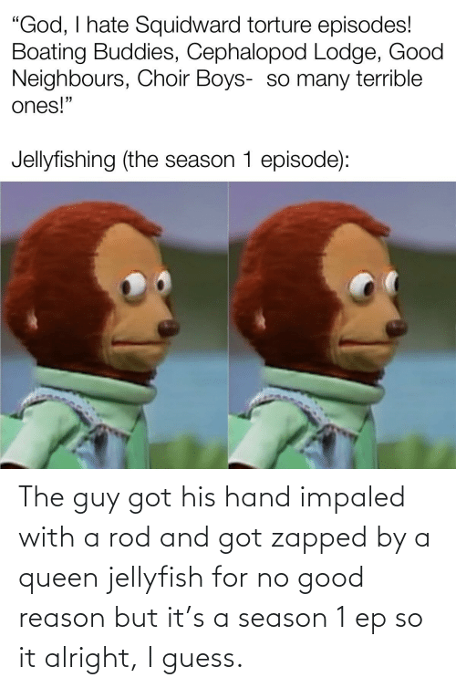 season 1: The guy got his hand impaled with a rod and got zapped by a queen jellyfish for no good reason but it's a season 1 ep so it alright, I guess.