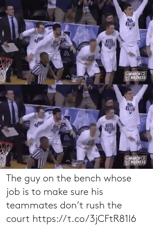 sure: The guy on the bench whose job is to make sure his teammates don't rush the court https://t.co/3jCFtR81I6