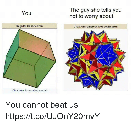 the guy she tells you not to worry about: The guy she tells you  not to worry about  You  Regular Hexahedron  Great dirhombicosidodecahedron  (Click here for rotating model) You cannot beat us https://t.co/UJOnY20mvY