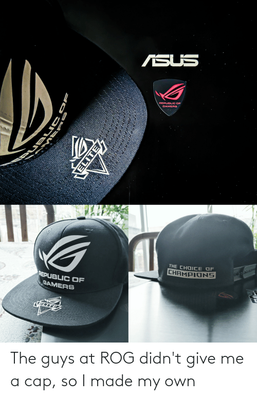 The Guys: The guys at ROG didn't give me a cap, so I made my own