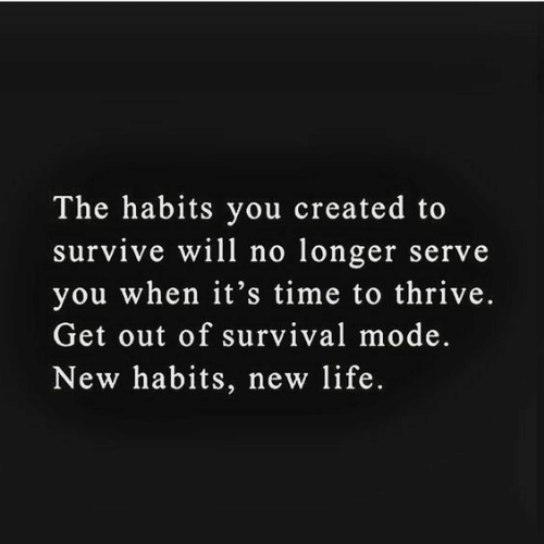 Habits: The habits you created to  survive will no longer serve  you when it's time to thrive.  Get out of survival mode.  New habits, new life.