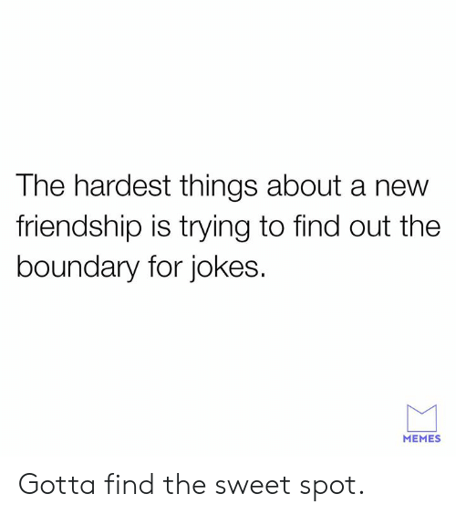 Dank, Memes, and Jokes: The hardest things about a new  friendship is trying to find out the  boundary for jokes.  MEMES Gotta find the sweet spot.