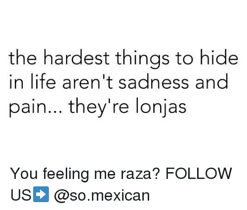 Life, Memes, and Mexican: the hardest things to hide  in life aren't sadness and  pain... they're lonjas You feeling me raza? FOLLOW US➡️ @so.mexican